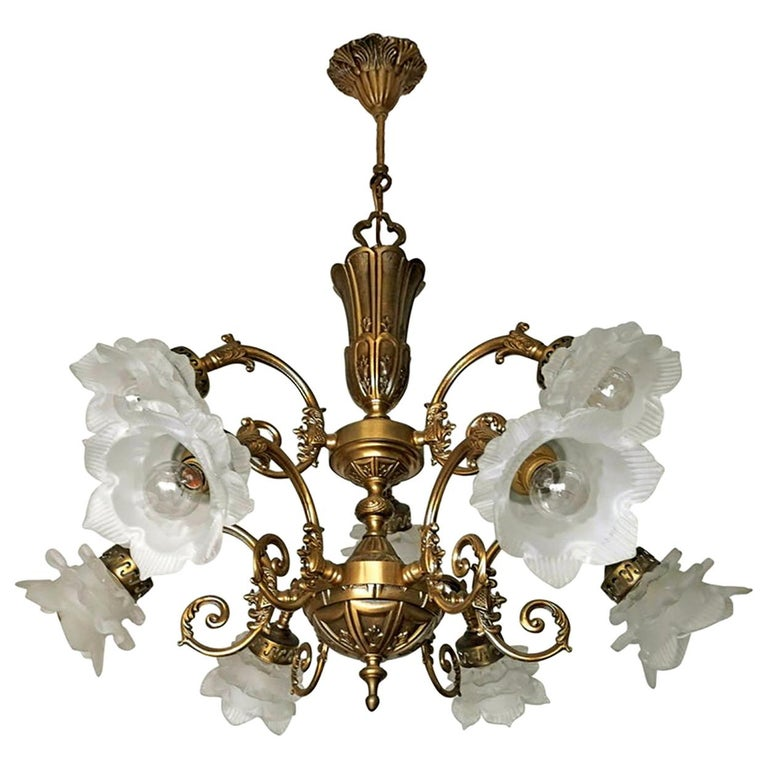 French Art Nouveau or Art Deco Art Glass Flower & Gilt Brass 9-Light Chandelier For Sale