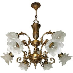 French Art Nouveau or Art Deco Art Glass Flower & Gilt Brass 9-Light Chandelier