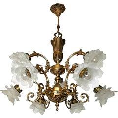 French Art Nouveau or Art Deco Art Glass Flower & Gilt Brass 9-Light Chandelier