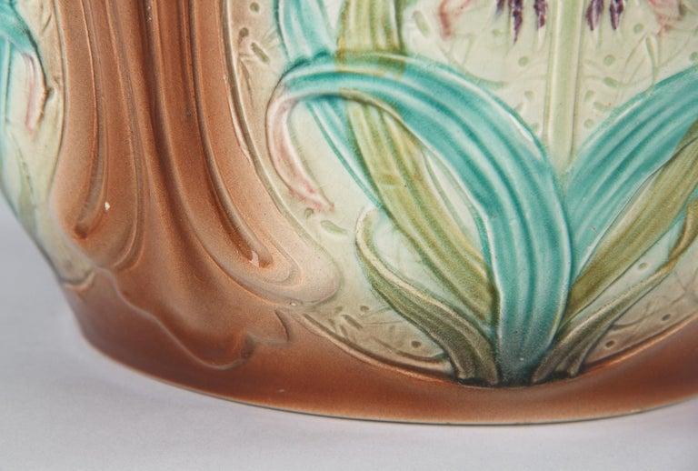 French Art Nouveau Orchies Majolica Cache Pot, 1900s For Sale 8