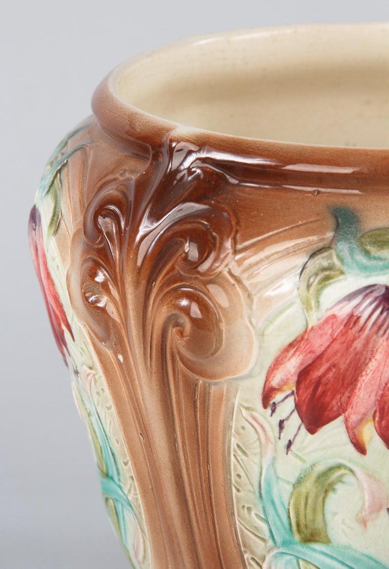 20th Century French Art Nouveau Orchies Majolica Cache Pot, 1900s For Sale