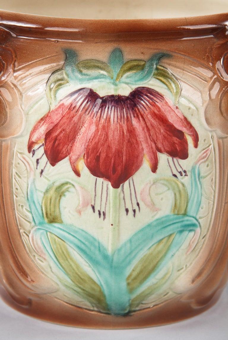 Ceramic French Art Nouveau Orchies Majolica Cache Pot, 1900s For Sale