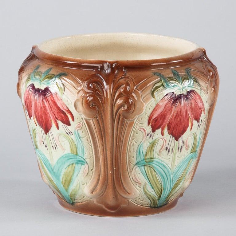 French Art Nouveau Orchies Majolica Cache Pot, 1900s For Sale 1