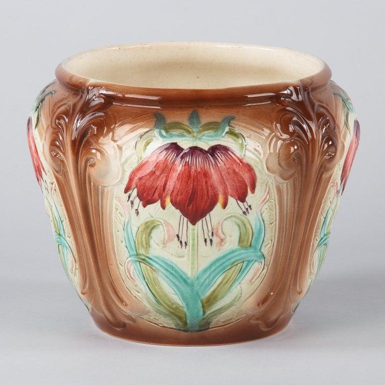 French Art Nouveau Orchies Majolica Cache Pot, 1900s For Sale 4