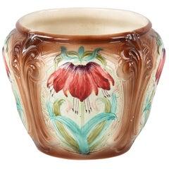 French Art Nouveau Orchies Majolica Cache Pot, 1900s