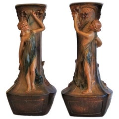 French Art Nouveau Pair of Large Terracotta Vases Signed F. Citti, 1900-1910