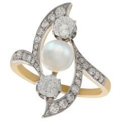 French Art Nouveau Pearl 1.14 Carat Diamond Gold and Platinum Cocktail Ring