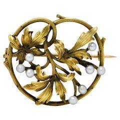 French Art Nouveau Pearl 18 Karat Gold Foliate Ivy Brooch Circa 1905