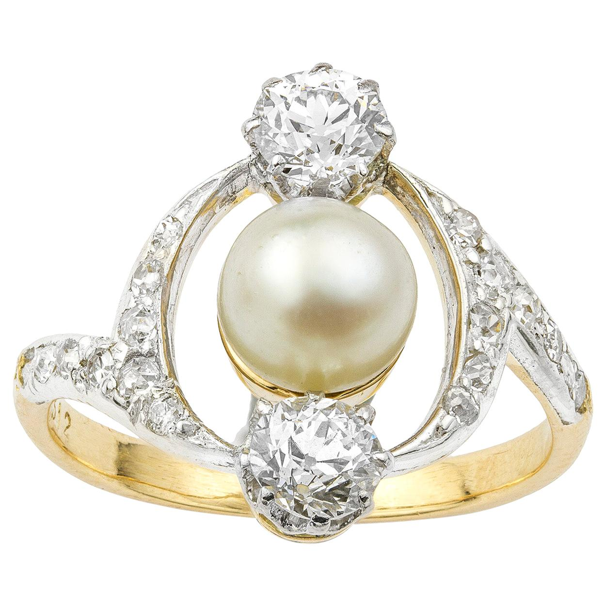 French Art Nouveau Pearl and Diamond Ring