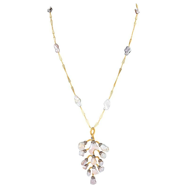 Freshwater Pearl Wisteria Pendant Necklace