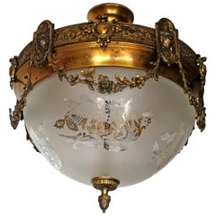 French Art Nouveau Period Bronze & Brass Etched Glass Chandelier or Flush Mount