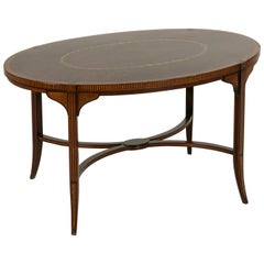 French Art Nouveau Period Mahogany and Lemon Wood Marquetry Coffee Table