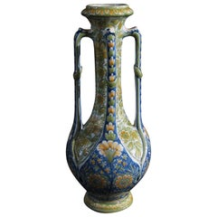 French Art Nouveau Polychrome Majolica Vase with Four Handles by Gibus and Redon