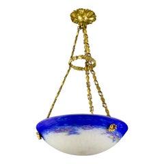 French Art Nouveau Purple Blue and White Art Glass Pendant Chandelier by Degué