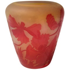 French Art Nouveau Red and Opal Orange Signed Emile Galle Cameo Glass Vase