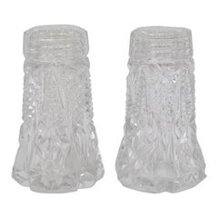 French Art Nouveau Salt and Pepper Shakers, Facetted Crysta Glass from the 1920s