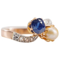 French Art Nouveau Sapphire and Diamond Toi et Moi Ring in Gold and Platinum
