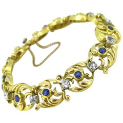 French Art Nouveau Sapphires and Diamonds Yellow Gold Platinum Link Bracelet