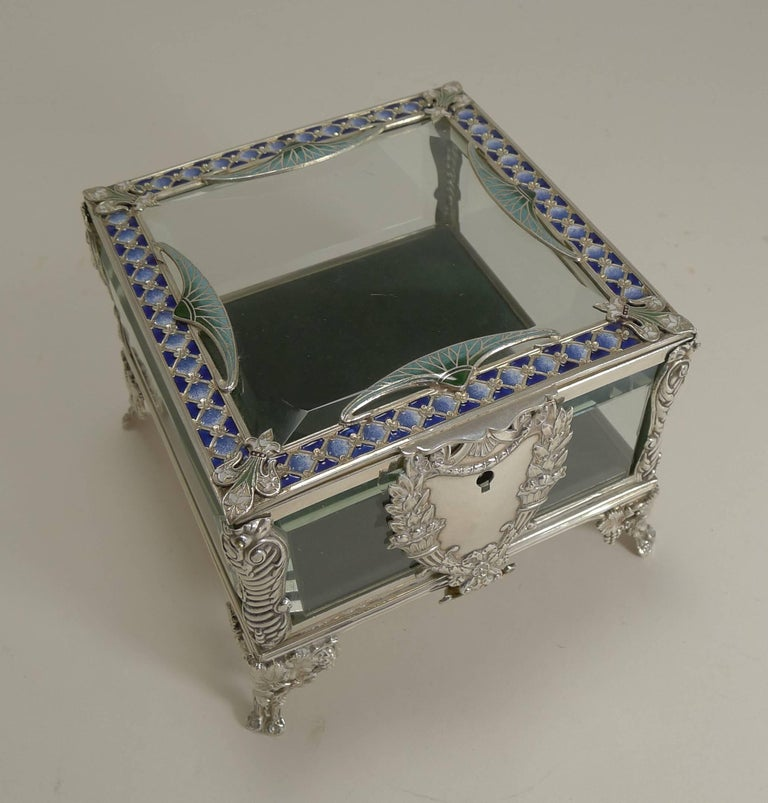 French Art Nouveau Silver Plate and Enamel Jewelry Box, circa 1900 For Sale 6
