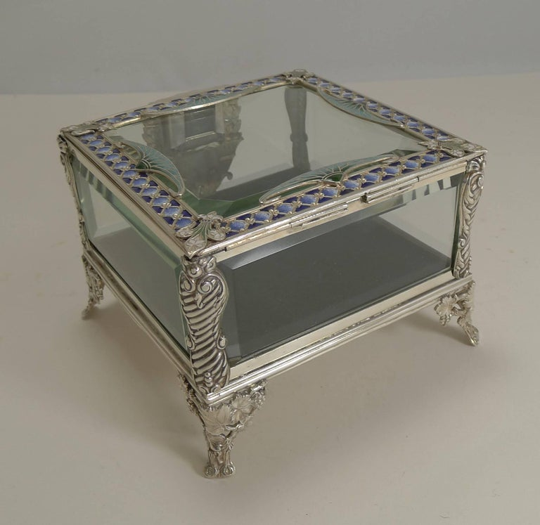 20th Century French Art Nouveau Silver Plate and Enamel Jewelry Box, circa 1900 For Sale