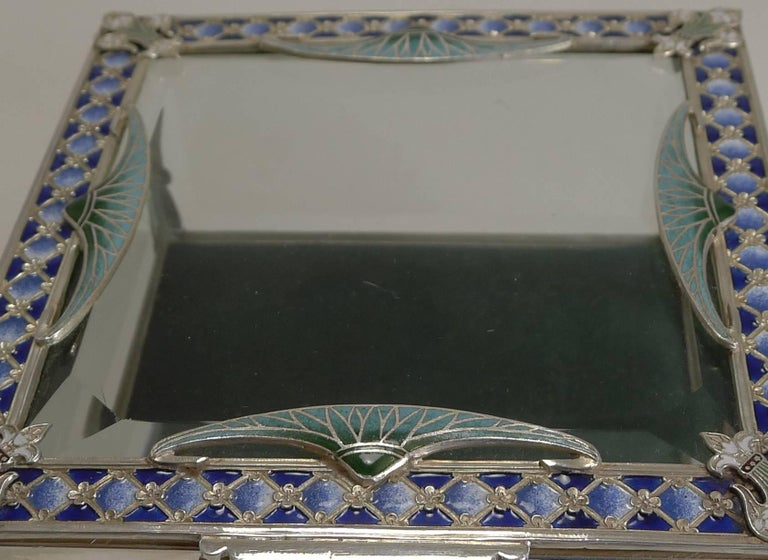 French Art Nouveau Silver Plate and Enamel Jewelry Box, circa 1900 For Sale 2