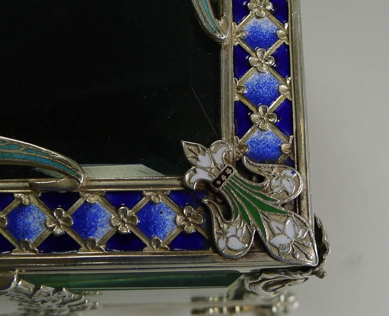 French Art Nouveau Silver Plate and Enamel Jewelry Box, circa 1900 For Sale 4