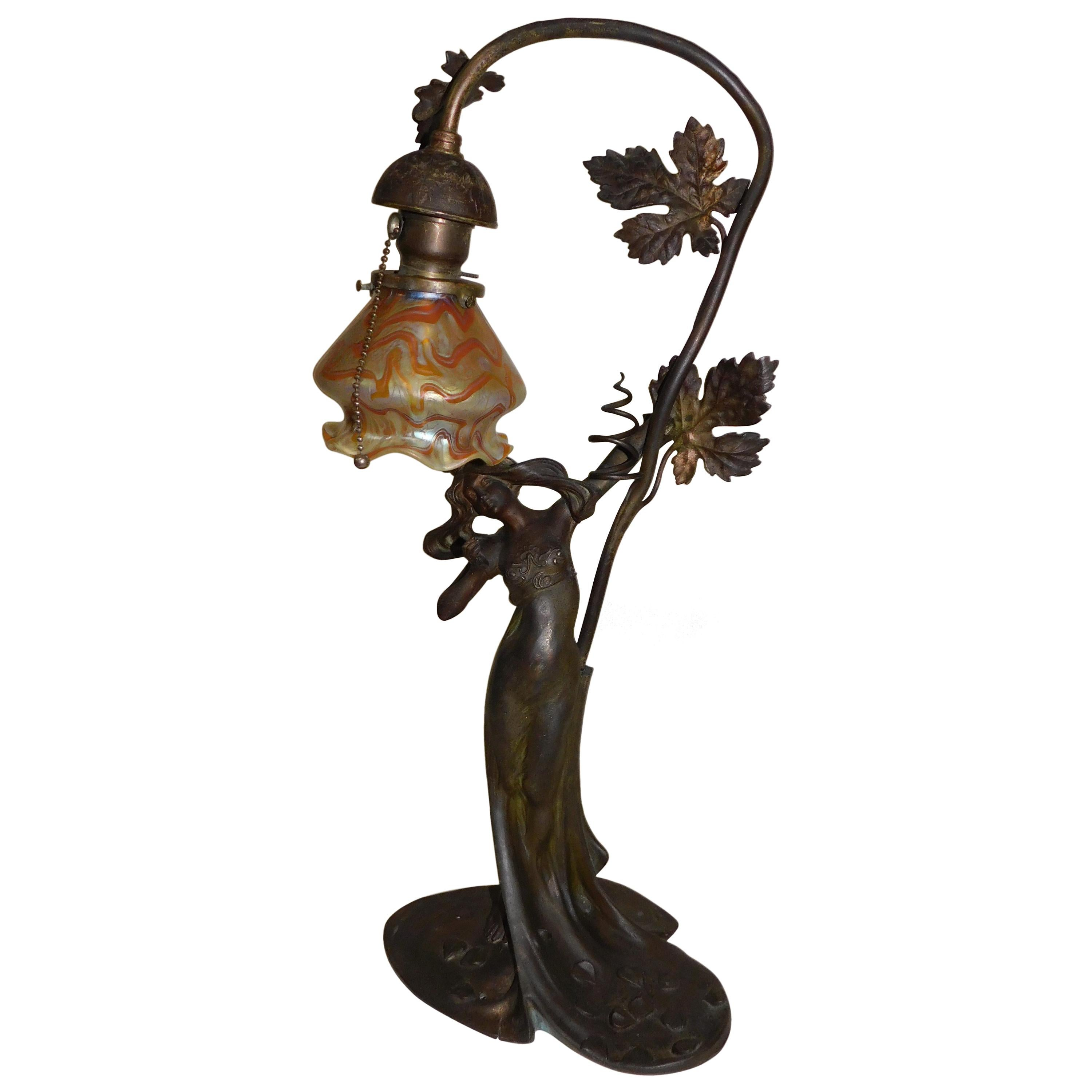 French Art Nouveau Spelter Table Lamp with Vintage Loetz Art Glass Shade