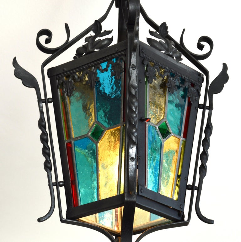 French Art Nouveau Stained-Glass Lantern, 1890-1900 In Good Condition For Sale In Saint-Amans-des-Cots, FR