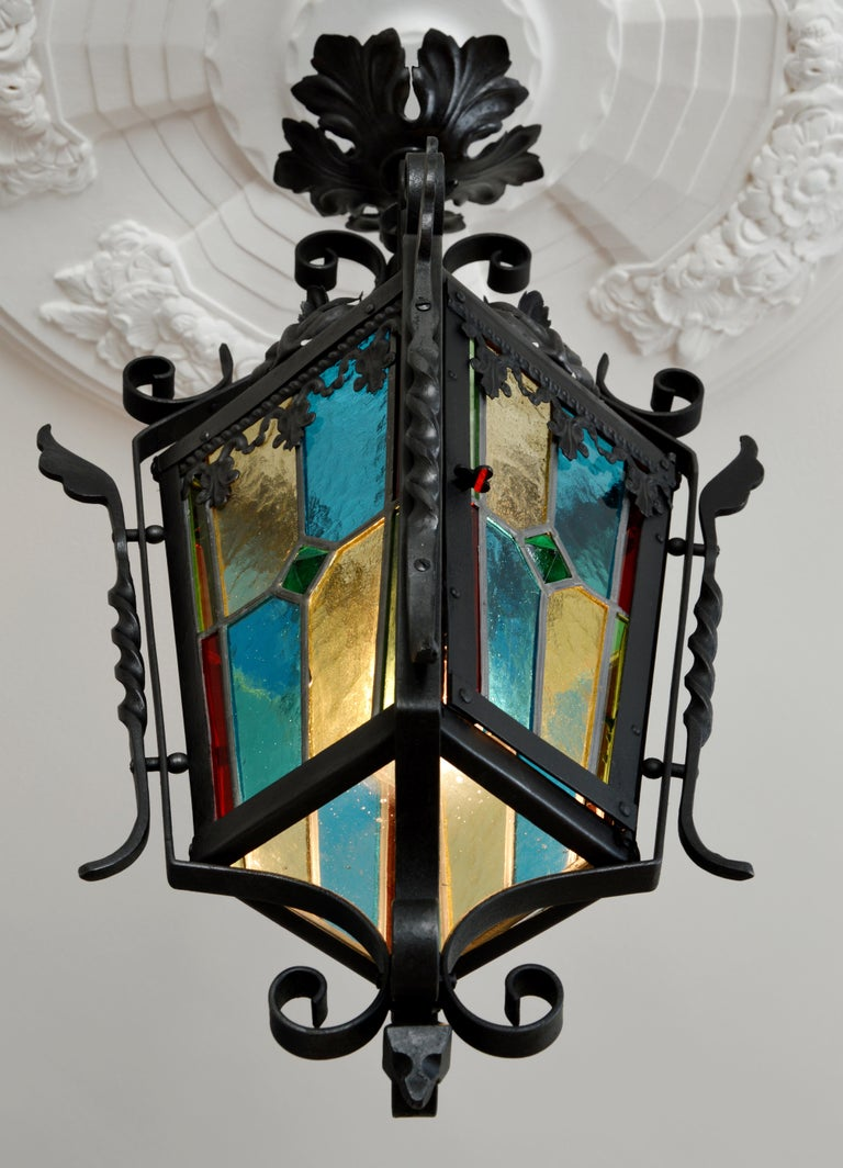 French Art Nouveau Stained-Glass Lantern, 1890-1900 For Sale 1