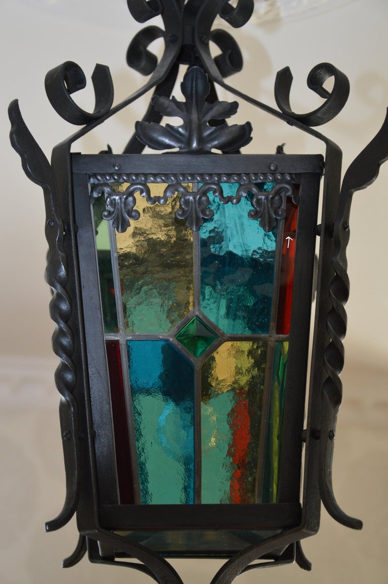 French Art Nouveau Stained-Glass Lantern, 1890-1900 For Sale 3