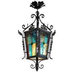 French Art Nouveau Stained-Glass Lantern, 1890-1900
