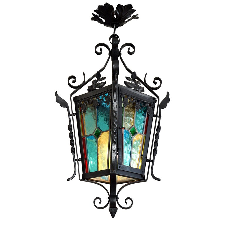 French Art Nouveau Stained-Glass Lantern, 1890-1900 For Sale