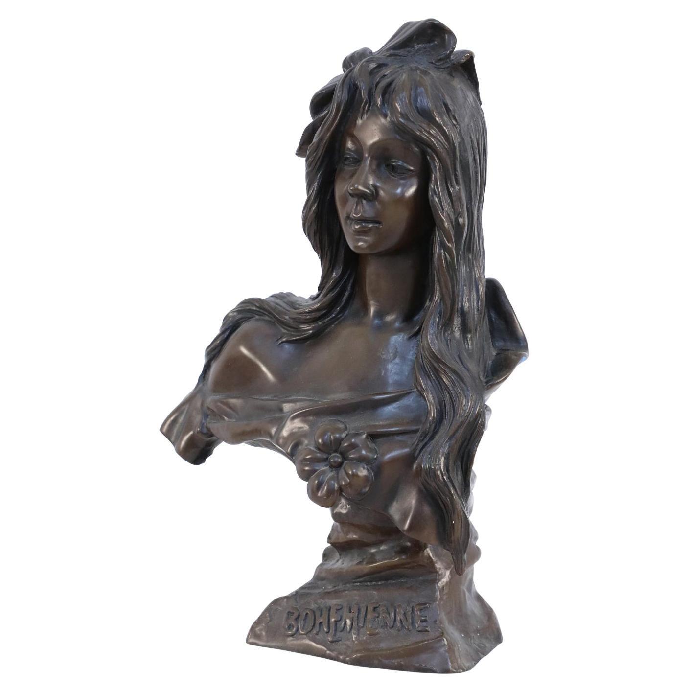French Art Nouveau Style Bronze Bohemian Woman Bust