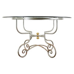 French Art Nouveau Style Iron Brass Garden Dining Table
