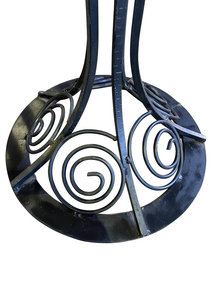 French Art Nouveau Style Lamp in Wrought Iron with Colored Glass Shades 6