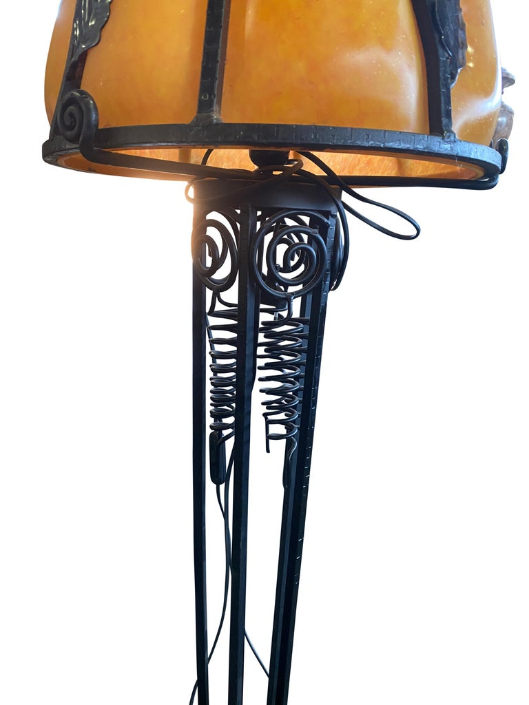 French Art Nouveau Style Lamp in Wrought Iron with Colored Glass Shades 2