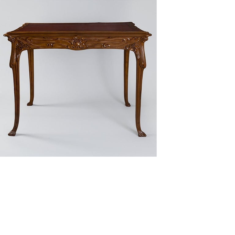 Hand-Carved French Art Nouveau Table by Edouard Colonna For Sale