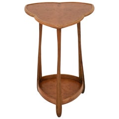 French Art Nouveau Triangular Side Table by Louis Majorelle in Walnut and Oak