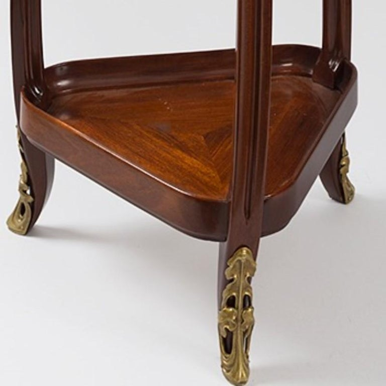 Gilt French Art Nouveau Triangular Table by Louis Majorelle For Sale