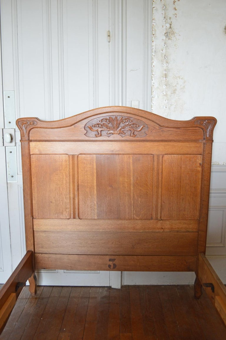 French Art Nouveau Twin Beds Bedroom Set Of 3 In Solid