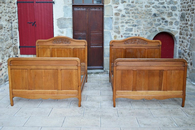 Strange French Art Nouveau Twin Beds Bedroom Set Of 5 In Solid Carved Oak Circa 1910 Download Free Architecture Designs Osuribritishbridgeorg