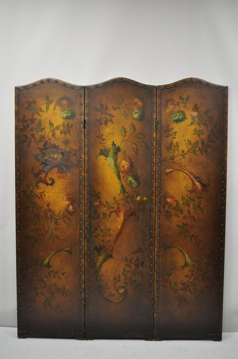 French Art Nouveau Victorian Oil Canvas Hand Painted 3-Panel Screen Room Divider For Sale 6