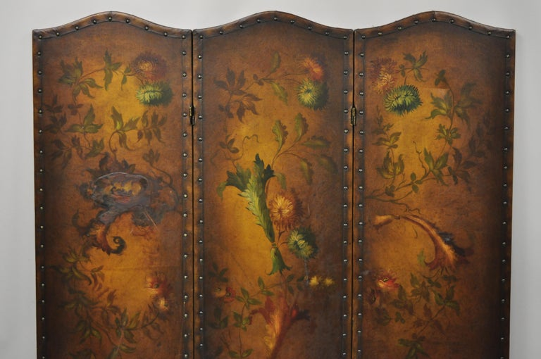 French Art Nouveau Victorian oil on canvas hand painted 3-panel screen room divider. Item features 3 panels, hand painted flowers, folding sections, very nice antique item, circa early 20th century. Measurements: 68.5