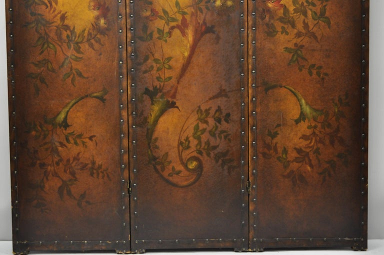French Art Nouveau Victorian Oil Canvas Hand Painted 3-Panel Screen Room Divider In Good Condition For Sale In Philadelphia, PA
