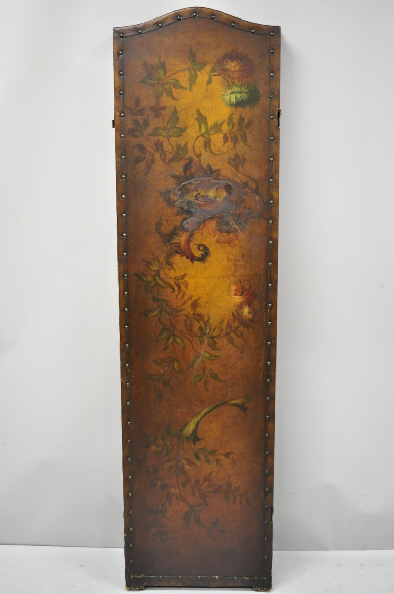 20th Century French Art Nouveau Victorian Oil Canvas Hand Painted 3-Panel Screen Room Divider For Sale