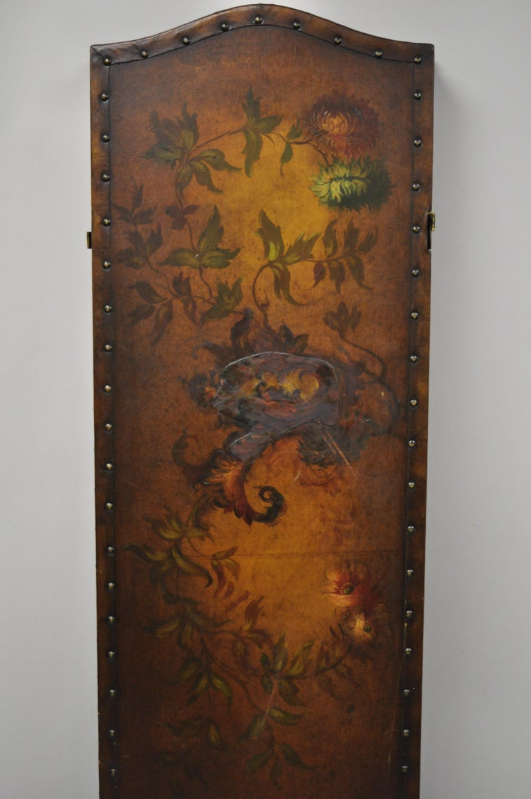 French Art Nouveau Victorian Oil Canvas Hand Painted 3-Panel Screen Room Divider For Sale 1