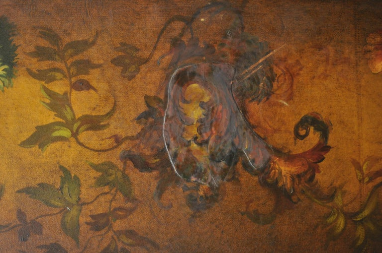 French Art Nouveau Victorian Oil Canvas Hand Painted 3-Panel Screen Room Divider For Sale 2
