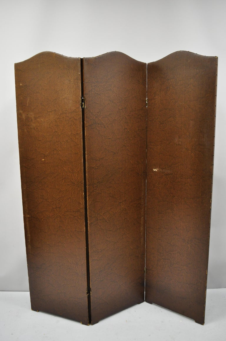 French Art Nouveau Victorian Oil Canvas Hand Painted 3-Panel Screen Room Divider For Sale 4