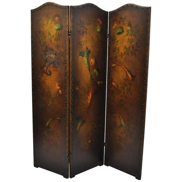French Art Nouveau Victorian Oil Canvas Hand Painted 3-Panel Screen Room Divider For Sale