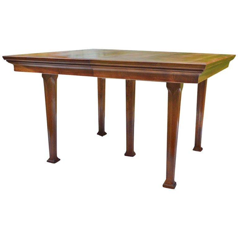 French Art Nouveau Walnut Dining Table, circa 1900